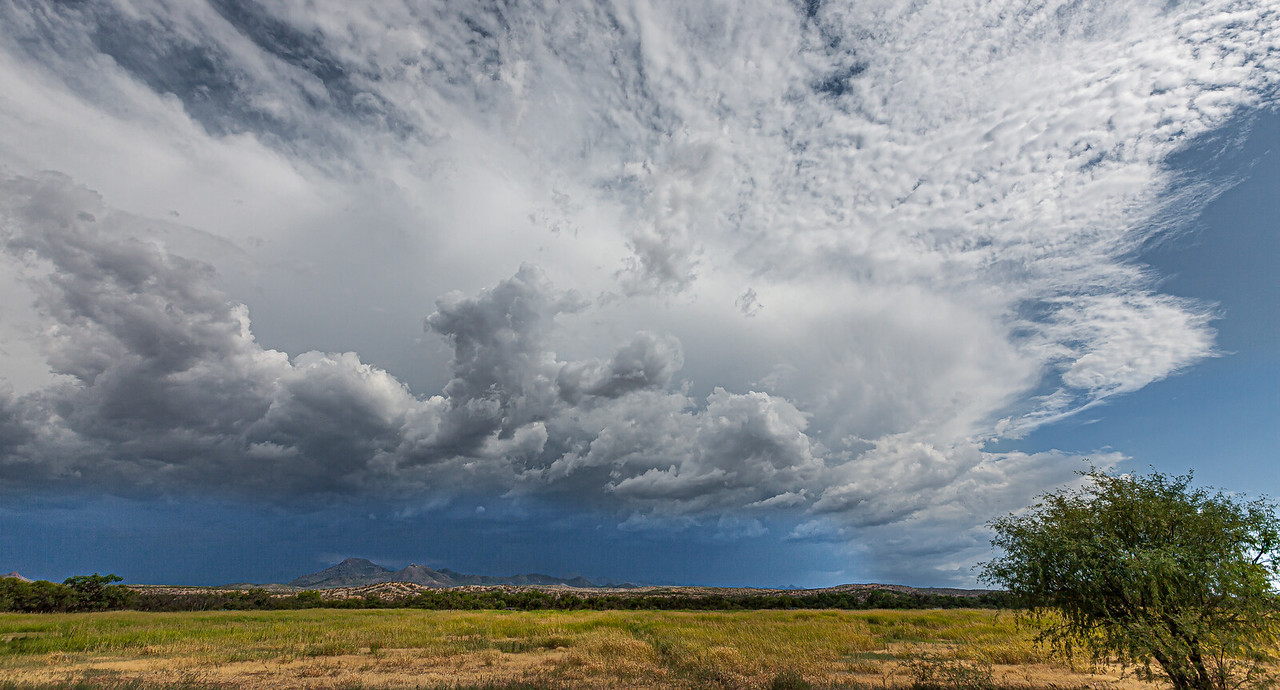 A summer monsoon looms frome the south along the Mexico-Arizona border.