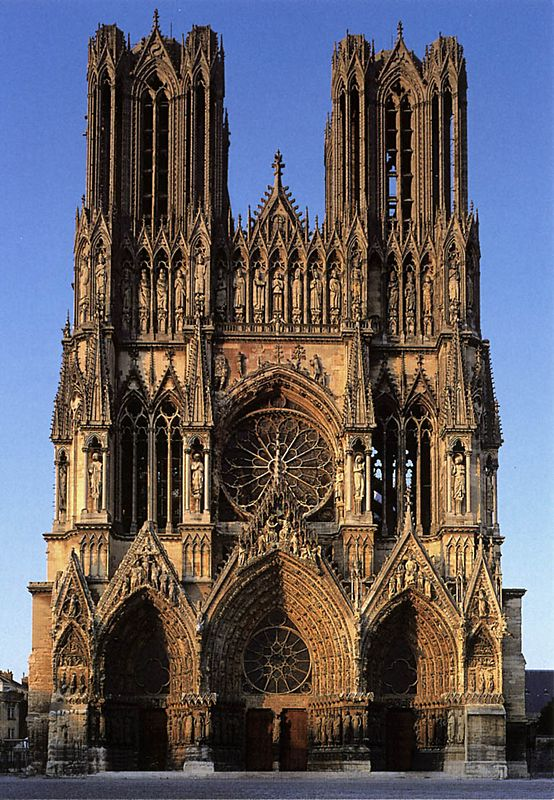 """Rheims Cathedral from a POSTCARD. Rheims without scaffolding, pure and unsullied. Rheims as we did not see it.  No spires - but lots of beautiful Gothic """"portraits""""."""