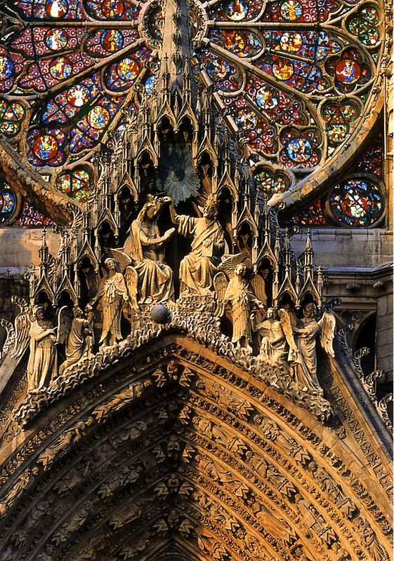 Rheims Cathedral from a POSTCARD: the central  portal tympanum, the Coronation of the Virgin.