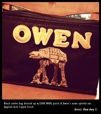 6 yr old Owen loves his Star Wars cooler bag, thanks to Mom's handiwork!