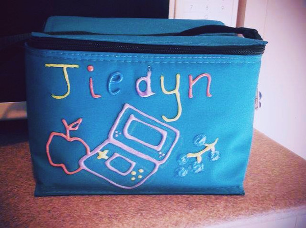 """Jiedyn's snazzy school lunch bag design had him all smiles... More on Melissa's <a href=""""http://melissanevaehjiedyn.blogspot.com.au/2012/02/creativity-captured.html"""">blog</a>"""
