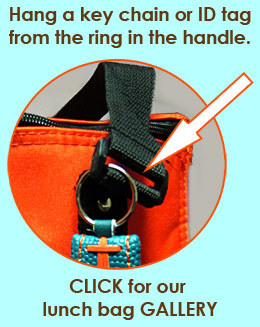 """Sturdy ring sewn into the strap of our EasyLunchboxes cooler bags will let you hang an id tag or any fun trinket you'd like. Personalize your cooler bag and change it up as often as you'd like! Learn more about our cooler bags here: <a href=""""http://bit.ly/aJvb8f"""">http://bit.ly/aJvb8f</a>"""