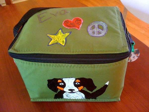 Fabric Paint transforms this lunch bag