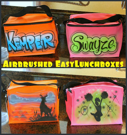 Hope sent me these pics. She had the cooler bags beautifully airbrushed. Her kids can't wait to use them when they go back to school. Love this idea!