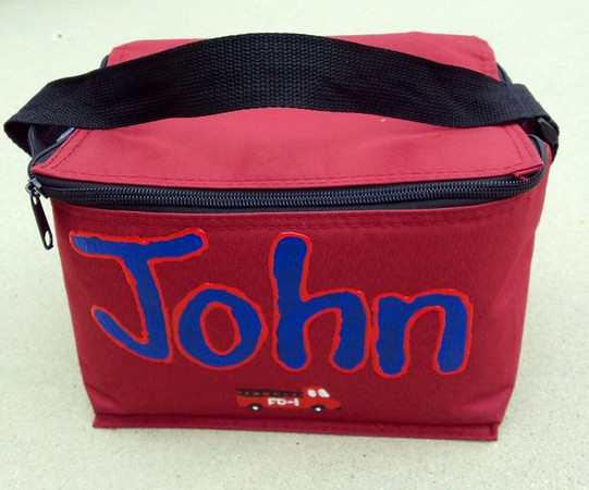 With a little paint and patience, John's cooler bag is personalized!