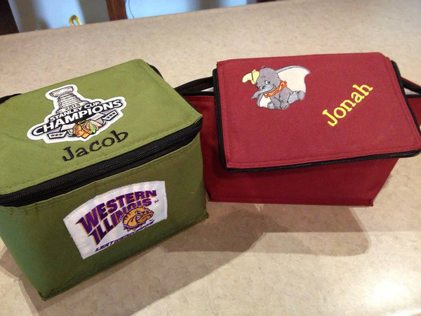Jacob and Jonah's lunch bags