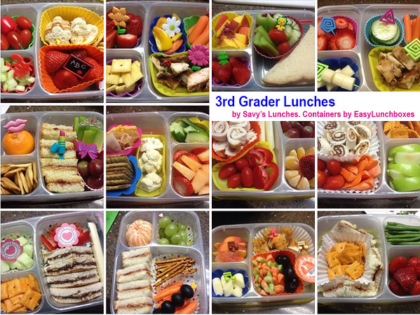 3rd Grader Lunches packed in EasyLunchboxes