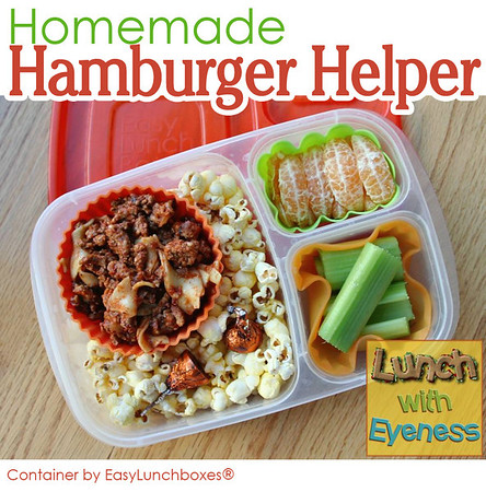 Hamburger Helper packed for lunch