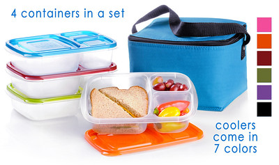 Hi Res w TEXT Containers and blue cooler - The EasyLunchbox System.
