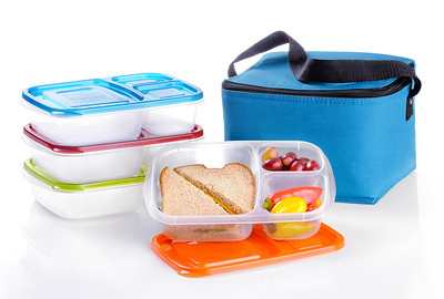 Hi Res Containers and blue cooler bag - The EasyLunchbox System.