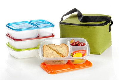 Hi Res Containers and green cooler bag - The EasyLunchbox System.