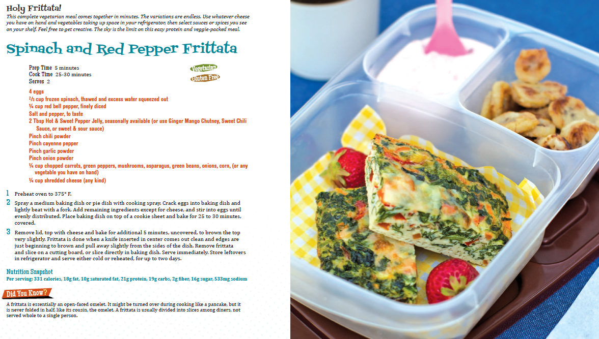 Spinach and Red Pepper Frittata recipe with picture of frittata in tupperware