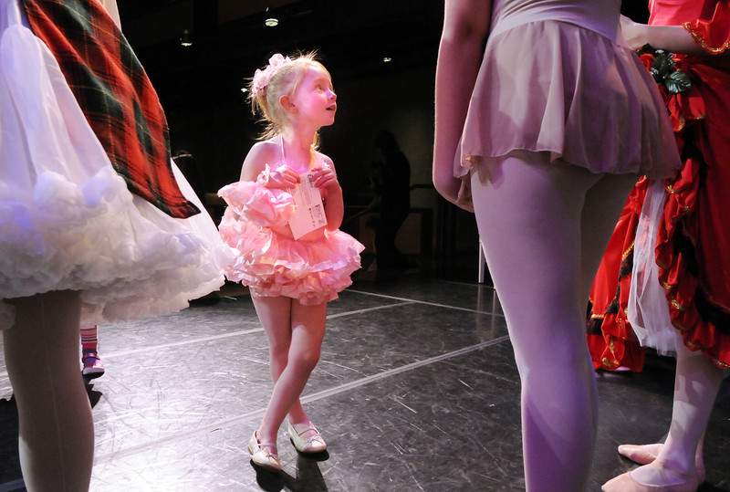 B0516BNC01.jpg BE0516BNC01<br /> Evelyn Peterson, 4, talks to student company ballerinas after the School of Ballet Nouveau Colorado's Student Company's production of Coppelia on Thursday at the Audi.<br /> May 12, 2010<br /> Staff photo/ David R. Jennings