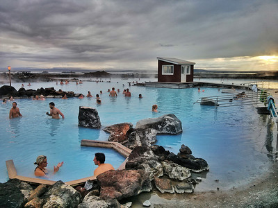 The Myvatn Nature Baths are bright blue and the lovely, warm water soft and cloudy.