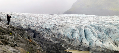 This was as close as we came to a glacier. It's hard to see in this photo but this glacier is huge. Sheena is standing on the edge of a cliff. The ice below here towers about 15-20 metres high.