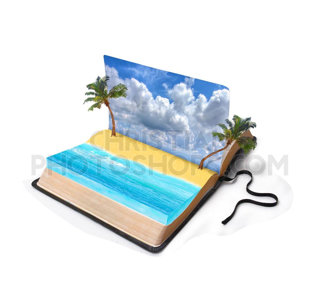Beach scene on a book