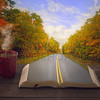 Open Bible and road