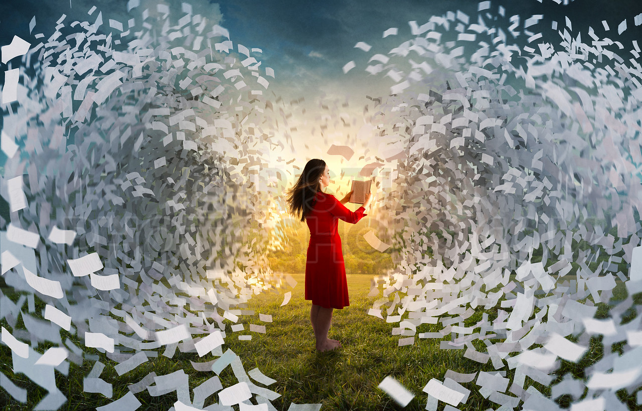 Tidal wave of book pages