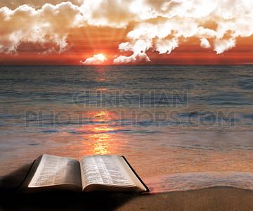 Open Bible at beach