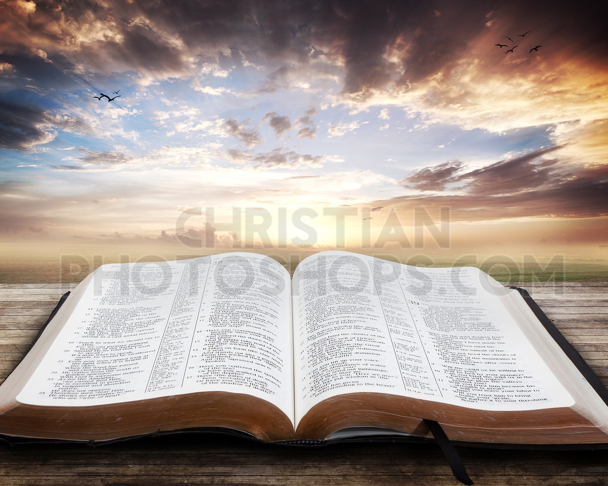 Sunset with open Bible