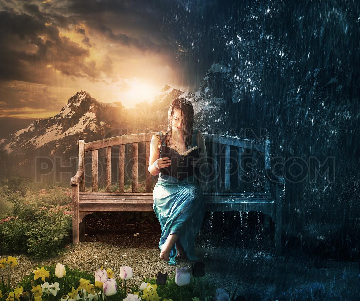 Woman reading in sun or rain