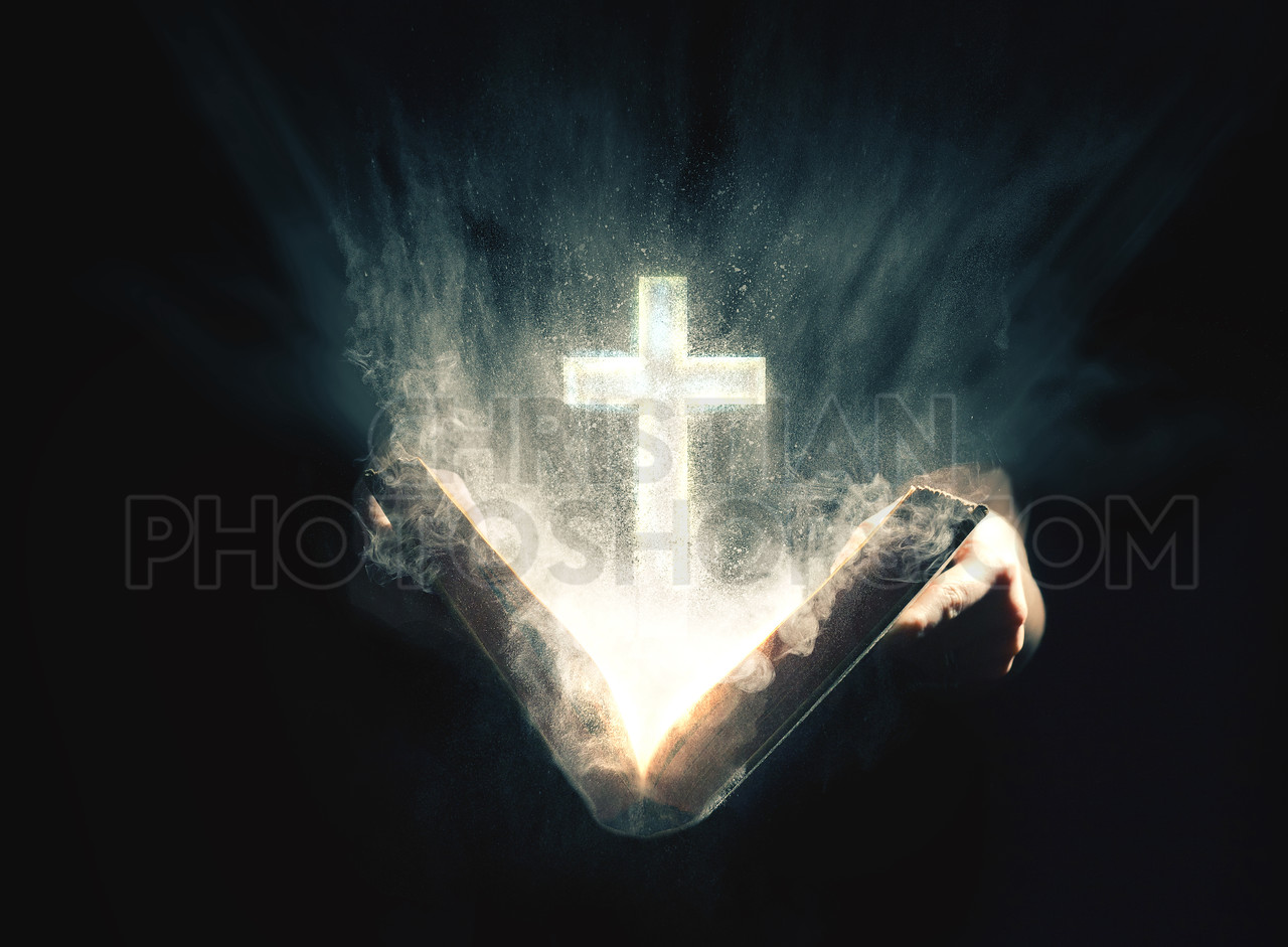 Glowing Bible with Cross