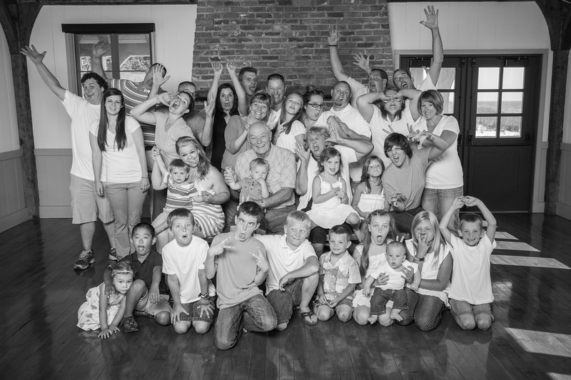 """Finally starting to edit one of the largest family sessions we've done: 34 people! Getting it going on a lighter note, here's their """"goofy"""" shot :)"""