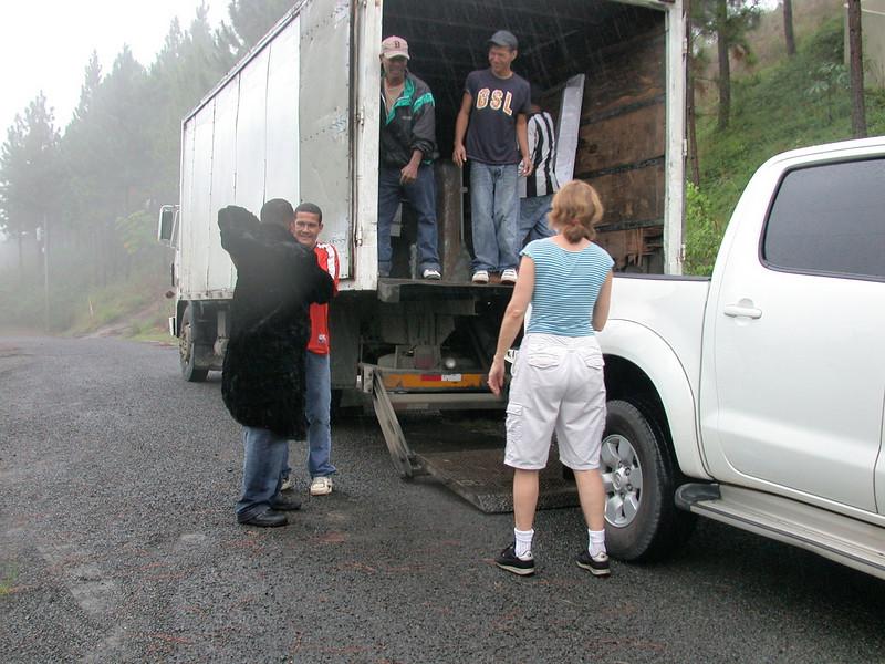 Panama: unloading in the rain