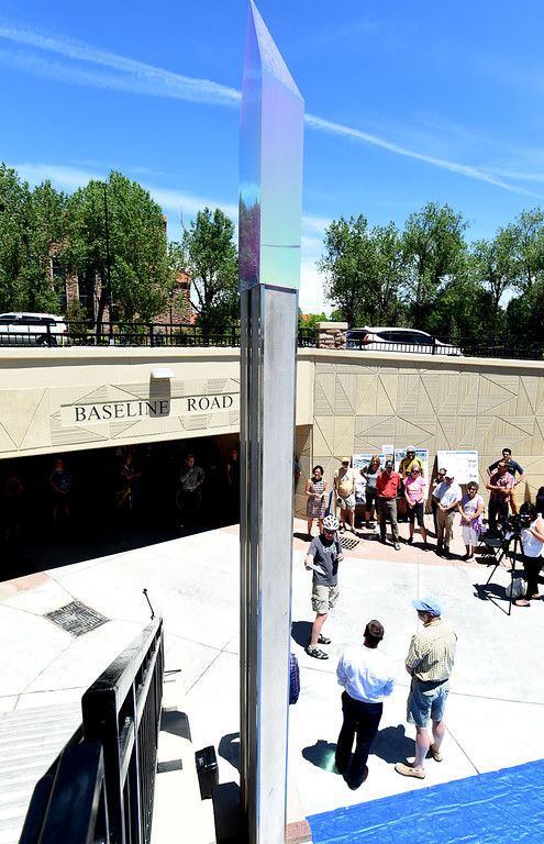 . Public art was also introduced art such as this obelisk, were introduced at the opening event. The Boulder Bike Underpass Choir performed at the Baseline Road Underpass Opening on Thursday. For more photos and a video, go to www.dailycamera.com.  Cliff Grassmick  Staff Photographer June 15, 2017
