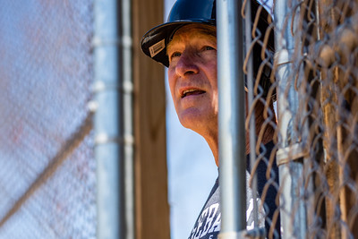 Fairfax, VA -- Phil Orchard-Hays watches as the 58+ Cardinals bat at practice on April 10, 2019.