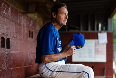 Washington, D.C. -- Ron Oates, 69, watches Team T field during the top bottom of the second inning on April 28, 2019. Photo by Eric Lee