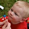 Nolan getting his lollipop