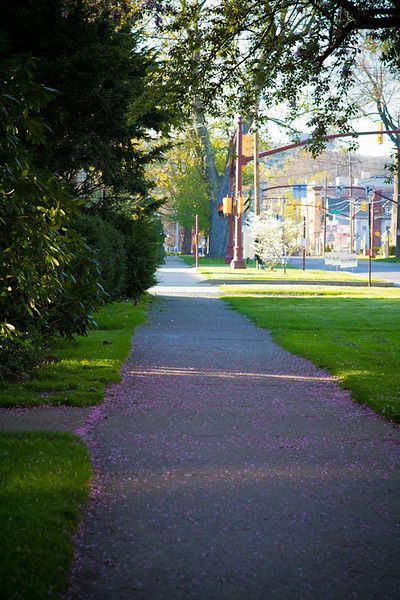 Up the sidewalk