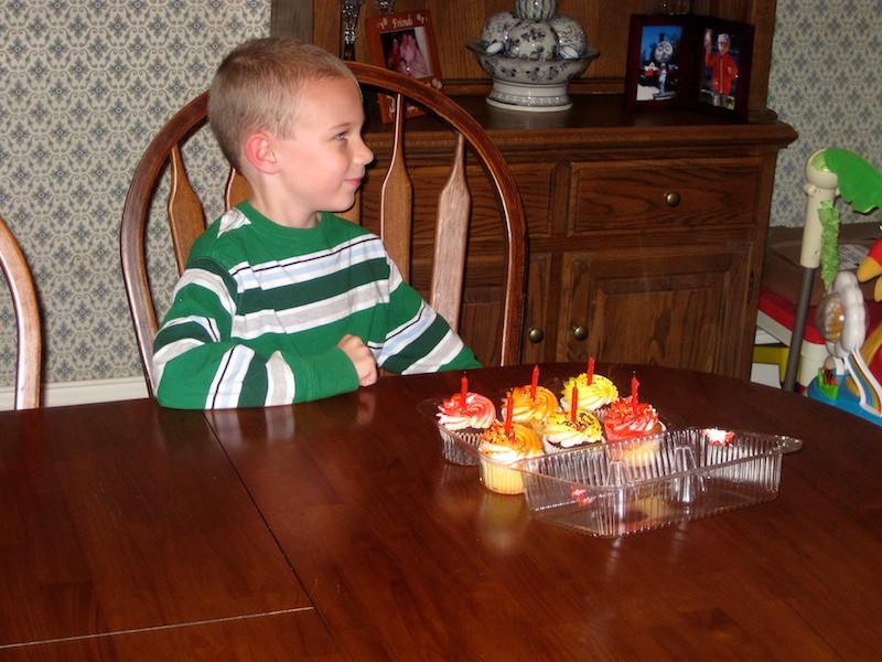 Six cupcakes and six candles for the six year old