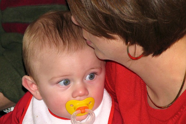 Nolan and Mom opening more presents
