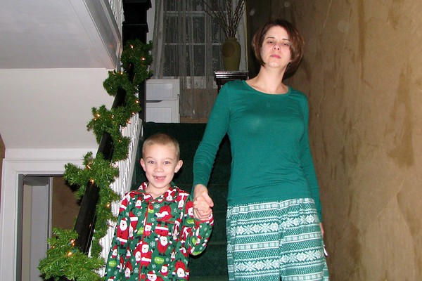 Coming down the steps on Christmas morning