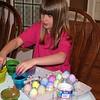 Quin decorating her eggs