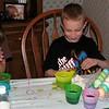 Koben and Hayden coloring eggs