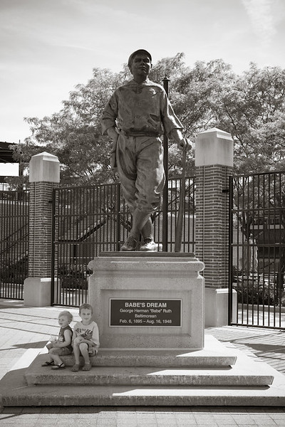 Sitting at the Babe Ruth statue outside of CamdenYards