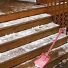 Shoveling off the steps