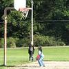 Playing on basketball