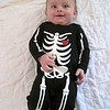 In his skeleton outfit...getting ready for Halloween