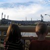 The kids looking at PNC Park and the river