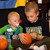 Nolan checking out Koben's broken pumpkin