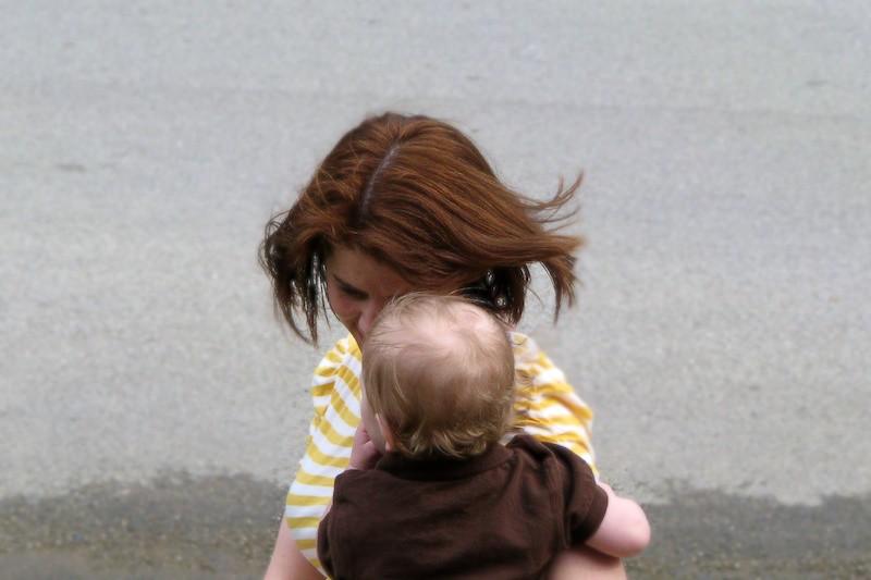 Nolan and Mom enjoying the wind