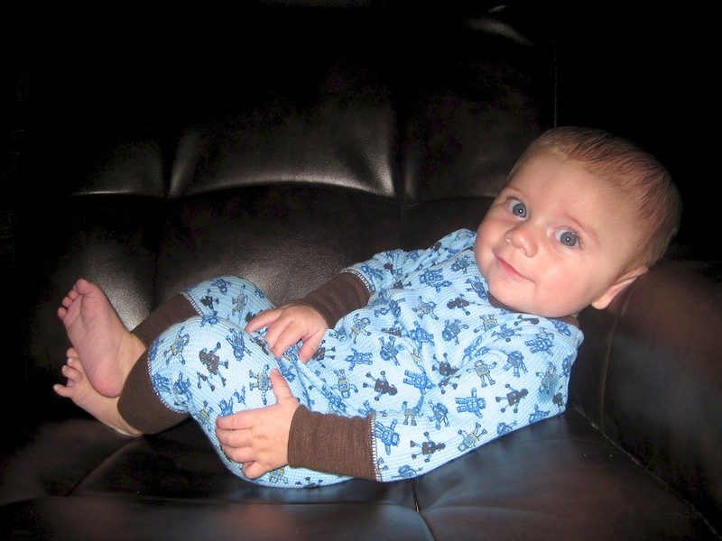 Nolan chilling in Bobby's chair