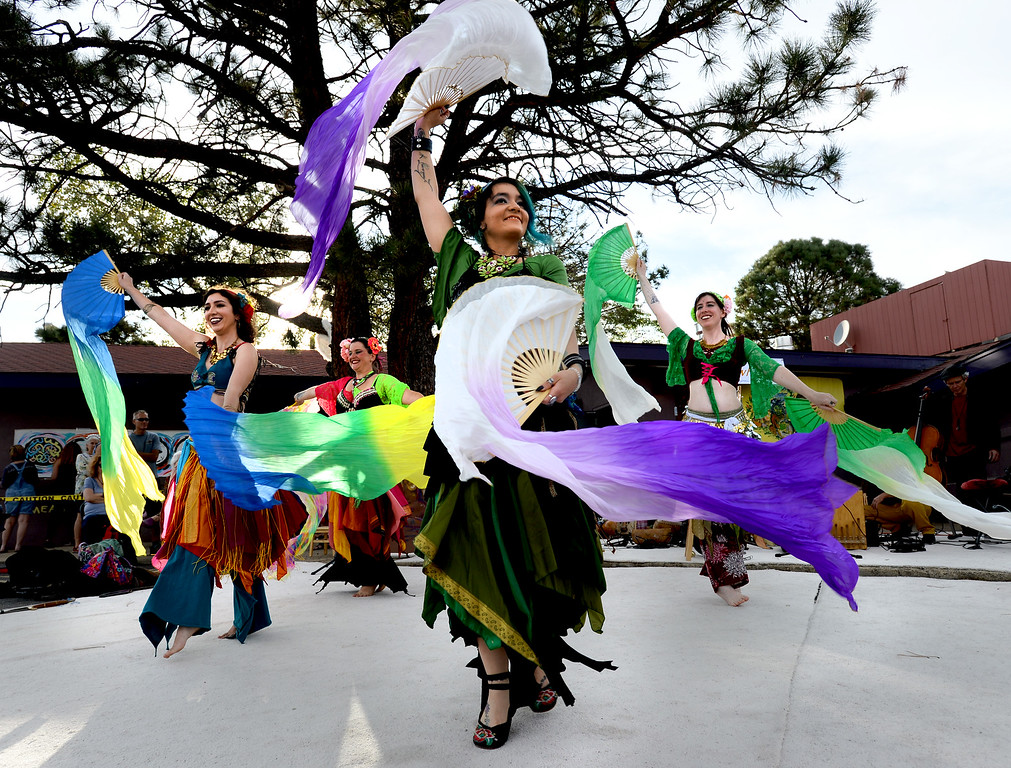 . BOULDER, CO - SEPTEMBER 29: Eve Christel, center, is part of the Tribal Misfits dancers, performing at the celebration. A celebration of dance was held at the Bustop to mark the occasion of the closing of the establishment on Saturday in Boulder.(Photo by Cliff Grassmick/Staff Photographer))
