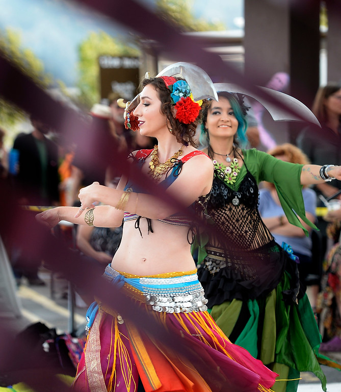 . BOULDER, CO - SEPTEMBER 29: Jessica Cain, left, and Eve Christel, both member of the Tribal Misfits, dance with her colleagues during the celebration. A celebration of dance was held at the Bustop to mark the occasion of the closing of the establishment on Saturday in Boulder.(Photo by Cliff Grassmick/Staff Photographer))