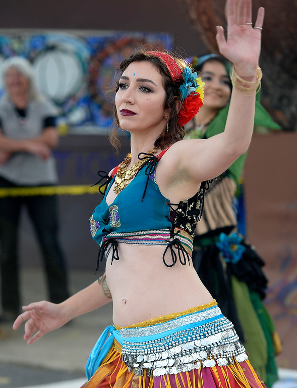 . BOULDER, CO - SEPTEMBER 29: Jessica Cain, a member of the Tribal Misfits, dances with her colleagues during the celebration. A celebration of dance was held at the Bustop to mark the occasion of the closing of the establishment on Saturday in Boulder.(Photo by Cliff Grassmick/Staff Photographer))