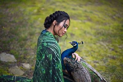 Photographer: Jennifer Ilene Cape: El Costurero Real Model: Gina Setter Makeup: Evie Selaty  Hair: Aly Wenson Peacock handlers: David Riddle & Todd Gillihan